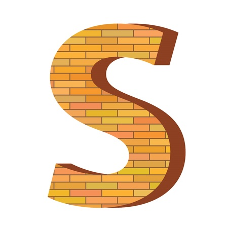 colorful illustration with brick letter S  on a white background