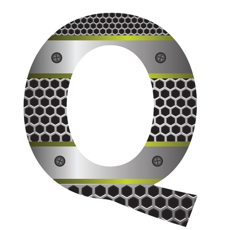 colorful illustration with perforated metal letter Q  on a white background