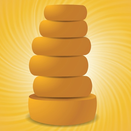grated cheese: colorful illustration with set of cheeses on a wave yellow background
