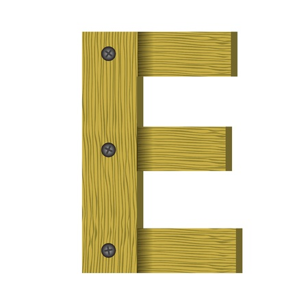 nailed: colorful illustration with wood letter E  a white background
