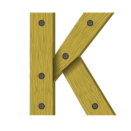nailed: colorful illustration with wood letter K on  a white background Stock Photo