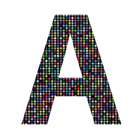 colorful illustration with multicolor letter A on  a white background illustration