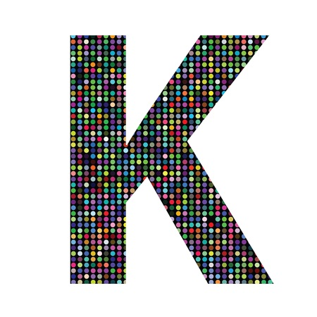 colorful illustration with multicolor letter K on  a white background illustration