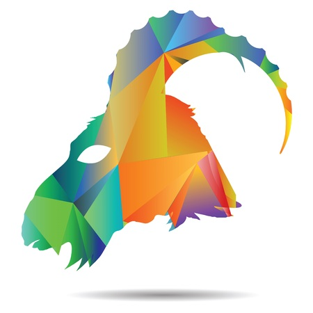 colorful illustration with abstract polygonal silhouette of goat on a white background illustration