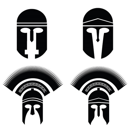 illustration with silhouettes of greek and roman helmet on  a white background illustration