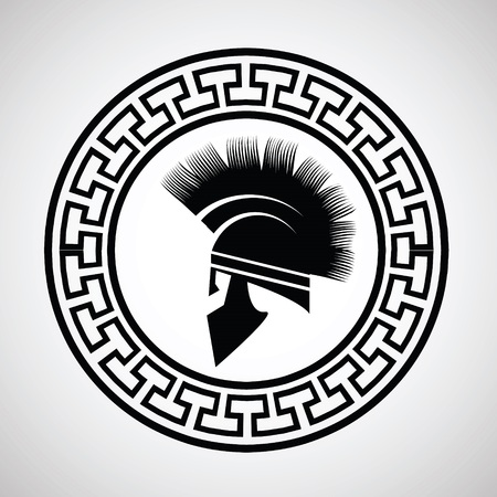 colorful illustration with silhouettes of greek  helmet on  a white background illustration