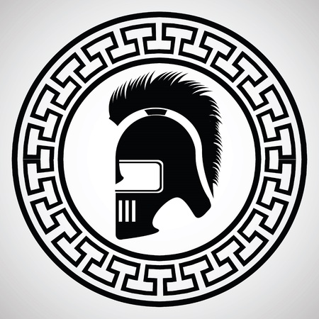 illustration with silhouette of greek helmet on  a white background illustration