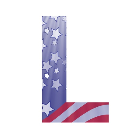 colorful illustration with  american flag letter L on a white background illustration