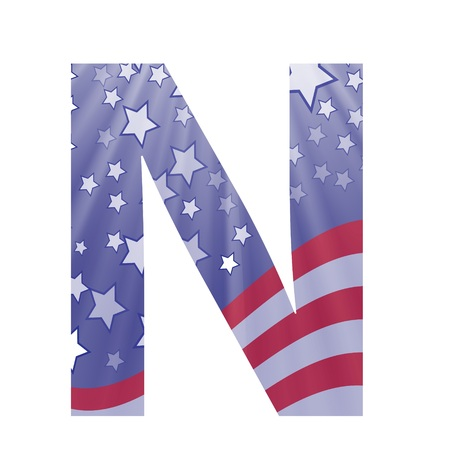 colorful illustration with  american flag letter N on a white background illustration