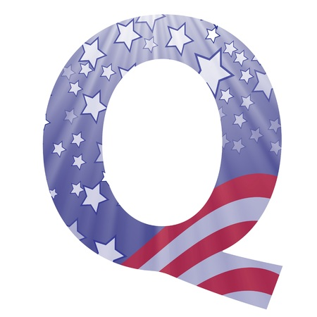 colorful illustration with  american flag letter Q on a white background illustration