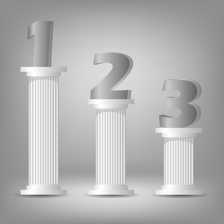 architectural team: colorful illustration with  greek column on a gray background