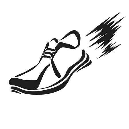 illustration with silhouette of running shoe icon on a white background