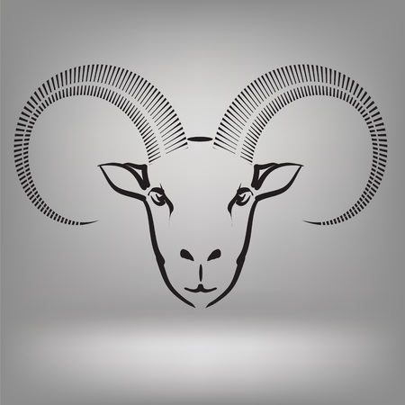 illustration with symbol of goat on a grey background illustration