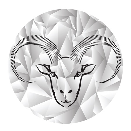colorful illustration with head of ram on a polygonal grey background illustration