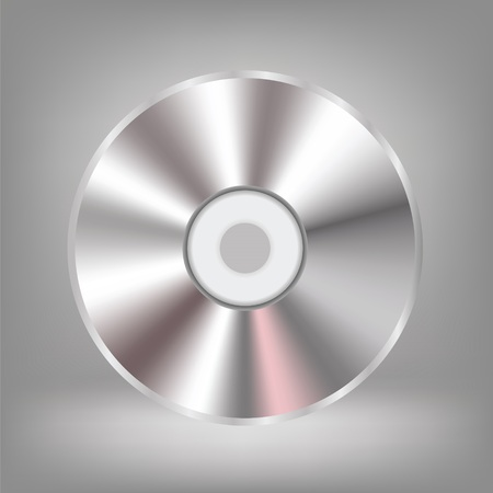 cd r: illustration with compact disc on a grey background
