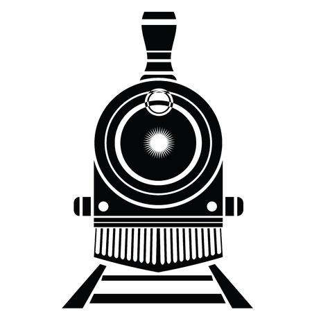 illustratie met oude trein pictogram op een witte achtergrond