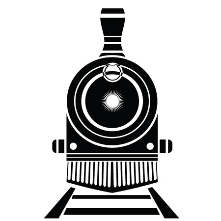 illustration with old train icon on a white background