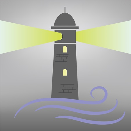 colorful illustration with lighthouse on grey  background Vector