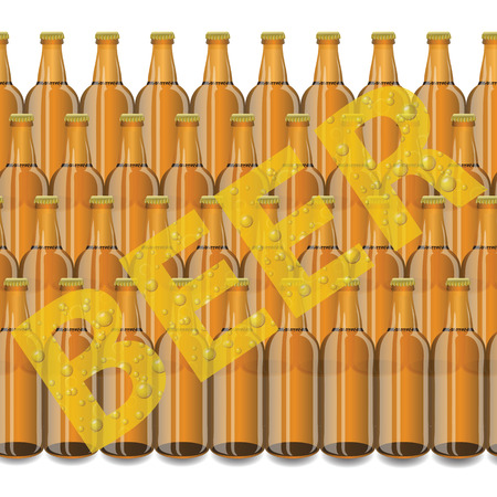 colorful illustration with beer bottles on a white  background Vector