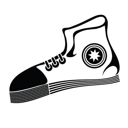 running shoe: illustrazione con scarpa da corsa su uno sfondo bianco per la progettazione Vettoriali
