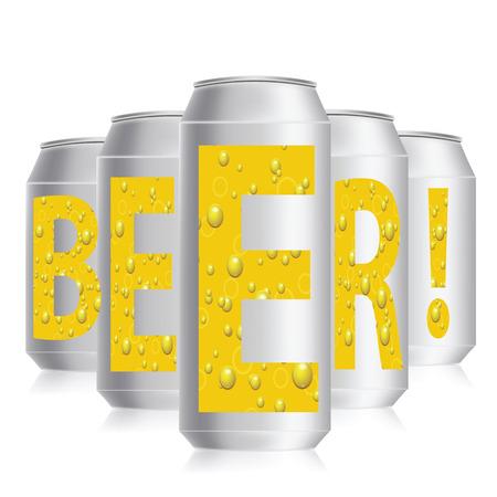 unprinted: colorida ilustraci�n con latas de cerveza en un fondo blanco