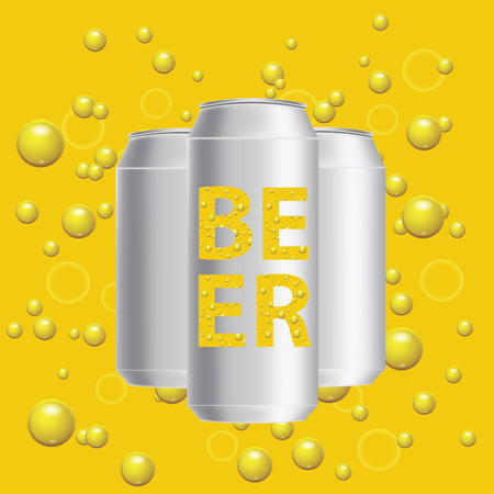 unprinted: colorful illustration with beer cans on a yellow bubbles  background Illustration