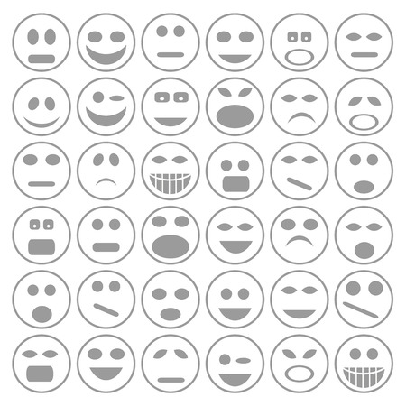 disappoint: colorful illustration with set of  smiley faces icons  on a white background