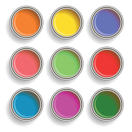 """""""paint can"""": colorful illustration with paint can color palette on white background Illustration"""