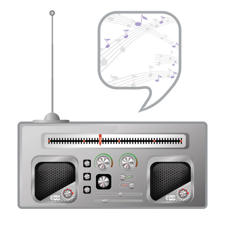 tuner: colorful illustration with old radio tuner on white  background