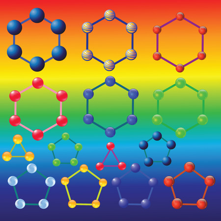 illustration  with molecules set on colorful background