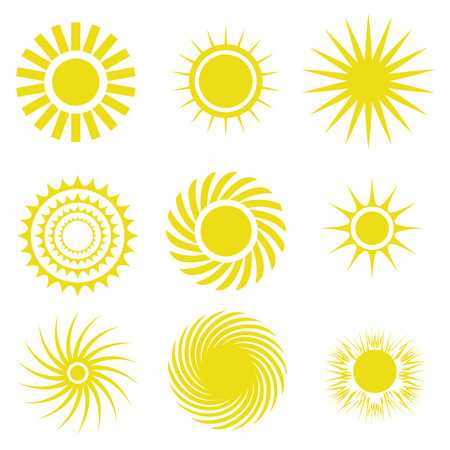 colorful illustration  with sun icons set on white background Vector