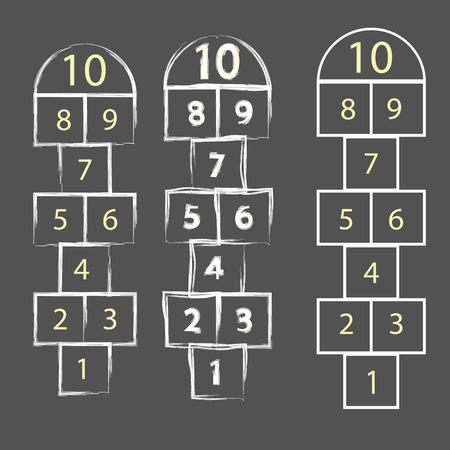 kleurrijke illustratie met Hopscotch spel op een grijze achtergrond