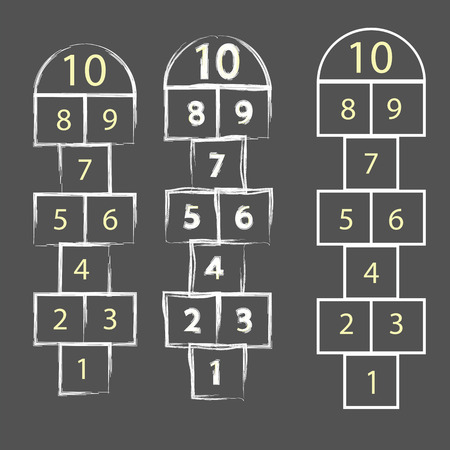hopscotch: colorful illustration  with hopscotch game on grey background Illustration