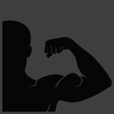 illustration  with strong man silhouette on grey background