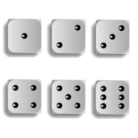 dice for games turned on all sides and with all the numbers on white background
