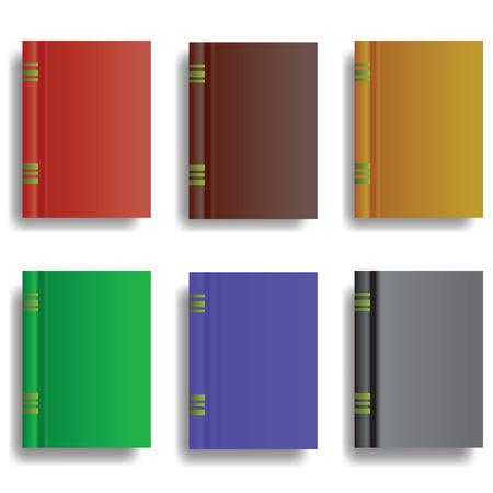 bookbinding: colorful illustration  with set of books on white background