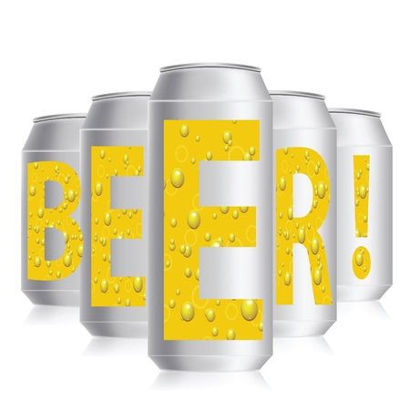 unprinted: colorful illustration with beer cans on a white  background