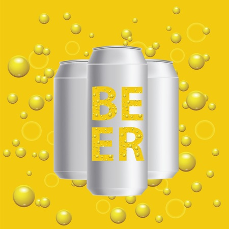 unprinted: colorful illustration with beer cans on a yellow bubbles  background Stock Photo