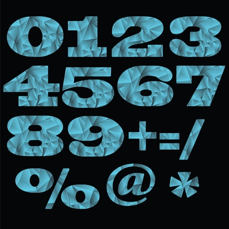 illustration  with set of numbers  on black background Stock Photo