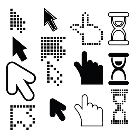 illustration  with pixel cursors icons set on white background illustration