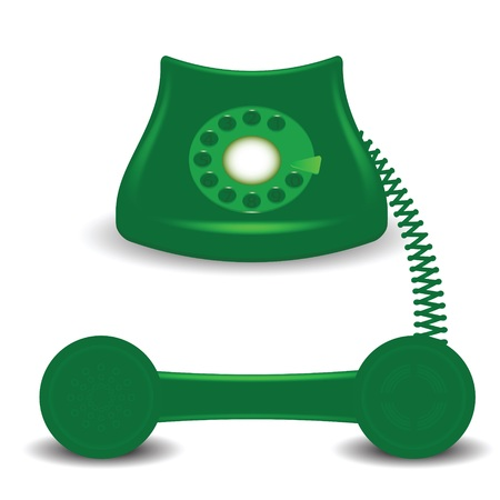 old phone: colorful illustration  with old green phone on white background