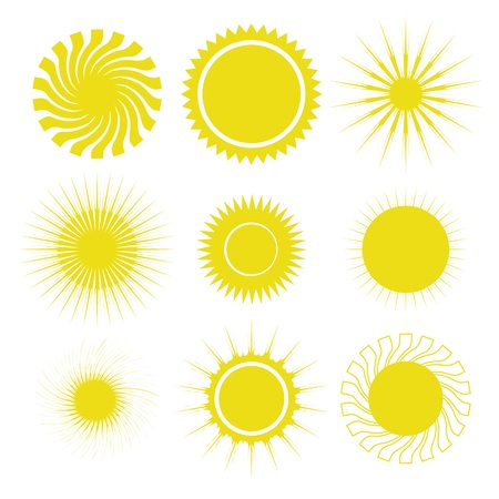 colorful illustration  with sun icons set on white background