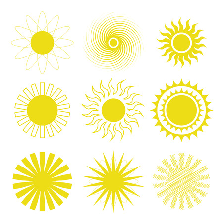 colorful illustration  with sun icons set on white background illustration