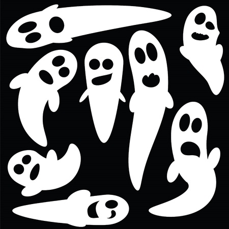 ghouls: illustration  with set of ghosts on black background