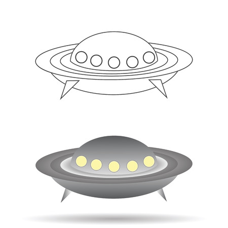 colorful illustration  with  spaceship  on white background Vector