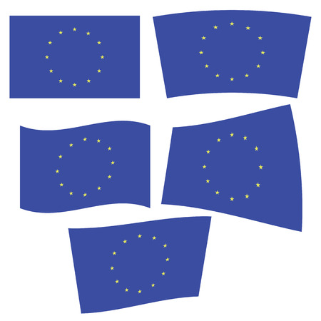 eec: illustration  with flag of Europe on white background