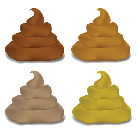 poo: colorful illustration  with   excrement set on white background