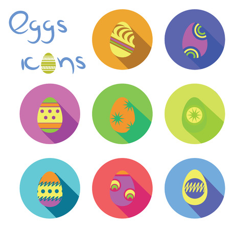 colorful illustration  with eggs icons on white background Vector