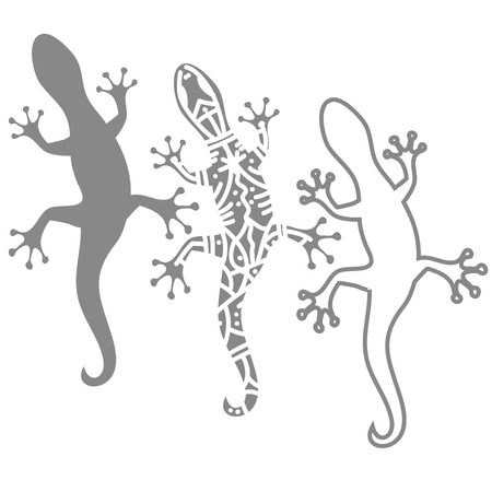 illustration  with  silhouettes of salamander on white background Illustration