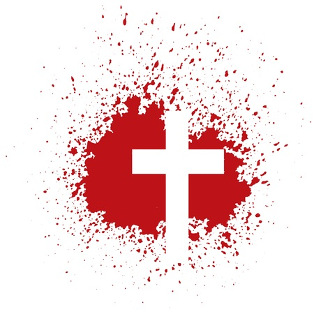ilustración con la cruz sangrienta sobre fondo blanco Foto de archivo